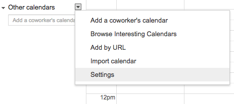 other calendar options menu in Google calendar
