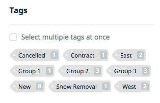list of tags from the clients page showing that they've been tagged with locations