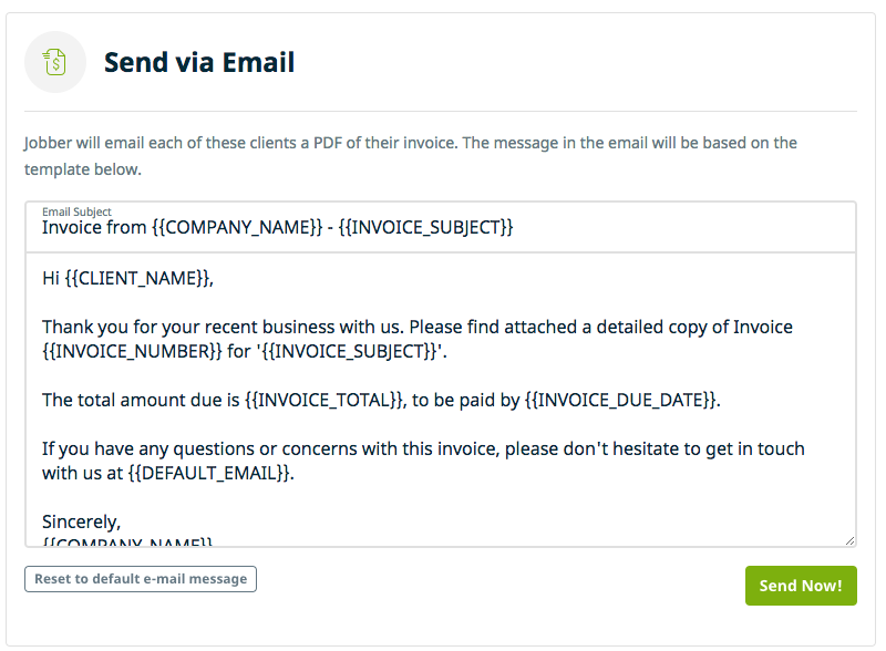 Batch Invoice Delivery By Email Jobber Help Center - Invoice message to client
