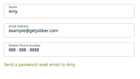 fields for a user's name, email, and mobile phone number. There is a link to send this user a password reset.