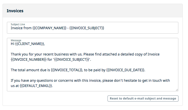 Email Templates Jobber Help Center - Invoice message to client