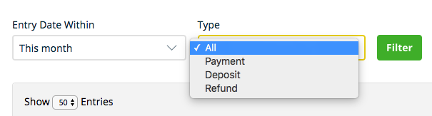 Filter dropdown with options to filter by all, payments, deposit, or refund