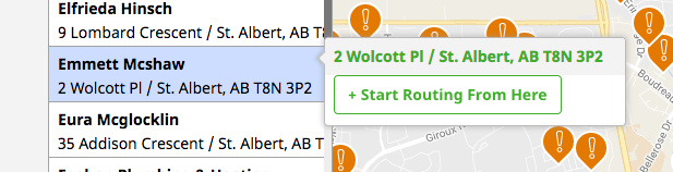client's property highlighted with an option to start routing from there