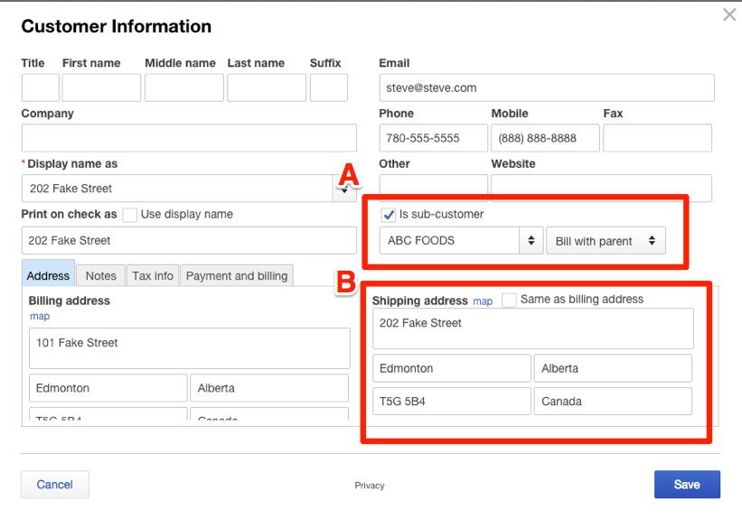 Edit customer information screen from QuickBooks with the sections for is subcustomer and shipping address highlighted