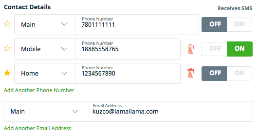 phone number fields for main, mobile, and home phone numbers. Field for main email address