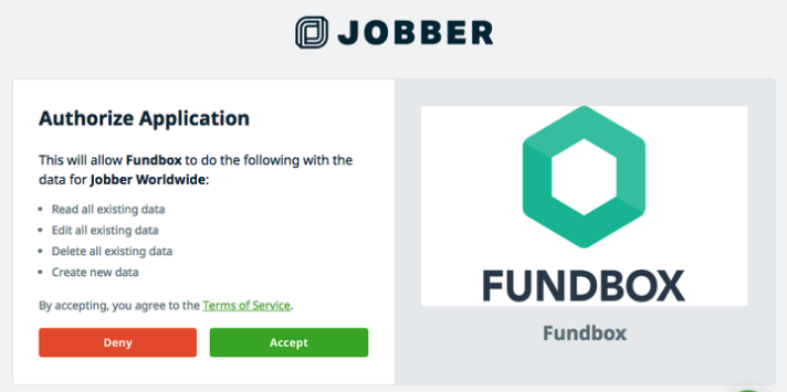 authorization page to authorize Fundbox to access data from Jobber