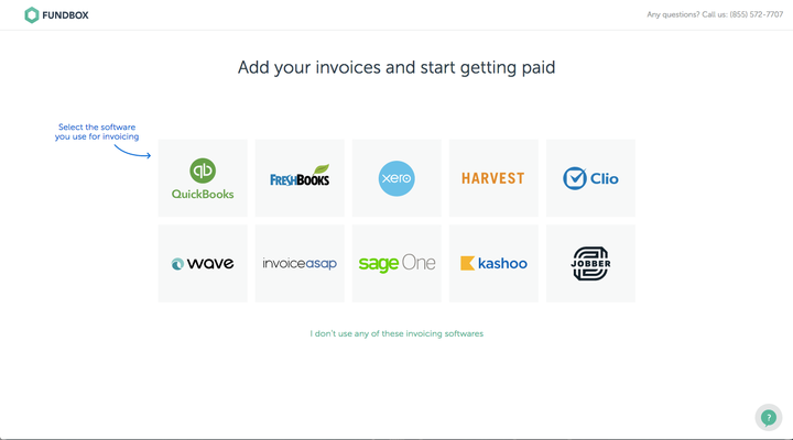 icons of various apps that Fundbox integrates with, including Jobber
