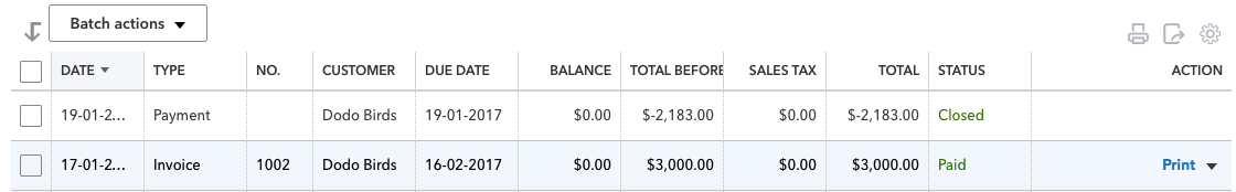 list of two invoices in QuickBooks with one showing as PAID
