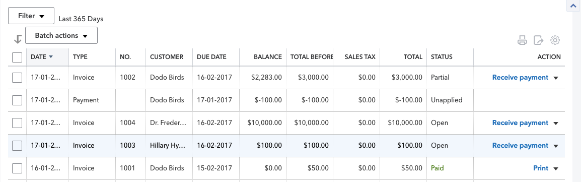 List of payments in QuickBooks