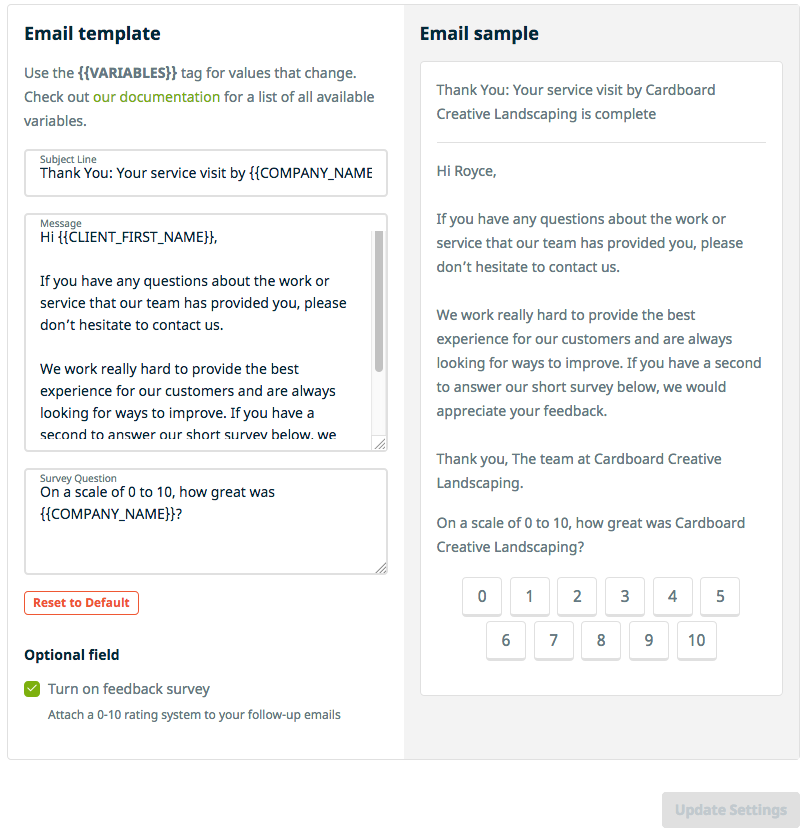 Client FollowUps Jobber Help Center - Follow up email template to client