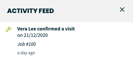 Item in activity feed that a visit was confirmed by the client