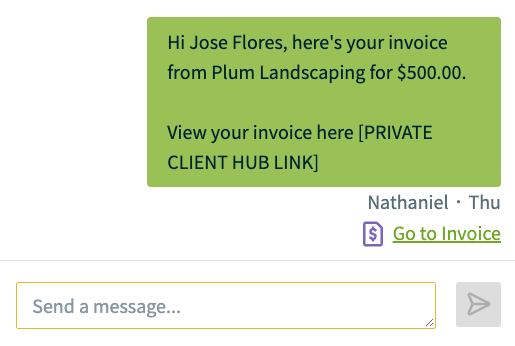 text conversation with a link to view the invoice internally in Jobber