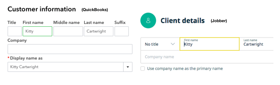 Customer information edit screen in QuickBooks
