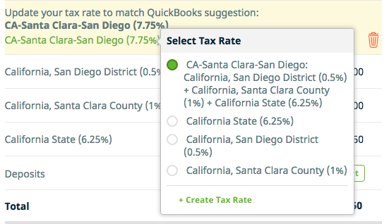 Clickong in the tax rate brings up the option to select the correct tax rate.