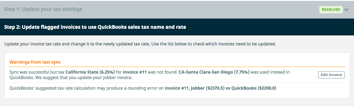 Step 2: Update flagged invoices to use QuickBooks sales tax name and rate.