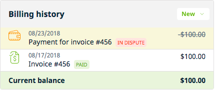 billing history box with a payment in dispute