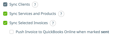 Sync selected checkbox is selected and the option to push invoices to QuickBooks Online is deselected