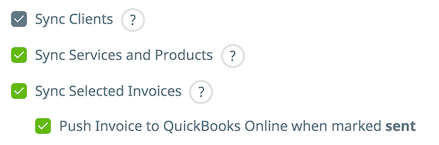 Sync selected checkbox is selected and so is the option to push invoices to QuickBooks Online