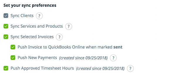 list of items with checkboxes that can be synced between Jobber and QuickBooks