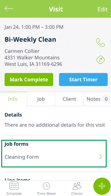 visit from the Jobber app with a box highlighting the job forms section on the info tab