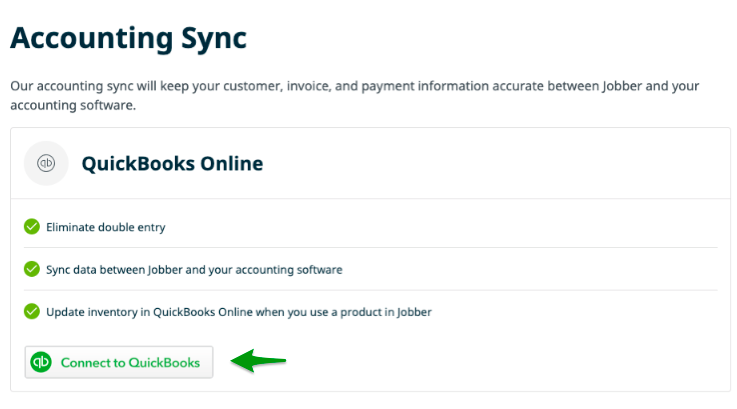 Accounting Sync options with a button to connect to QuickBooks Online