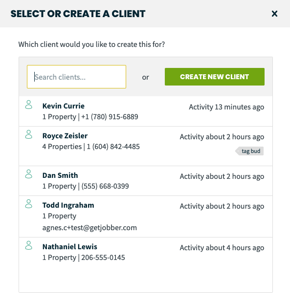 select or create a client