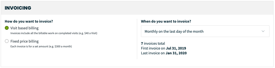 prompt for a recurring job to invoice based on a schedule you create
