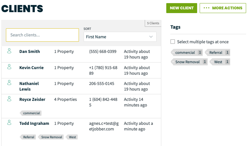 Client list with tags along the right side of the list