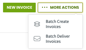 more actions menu with the option to batch create invoices