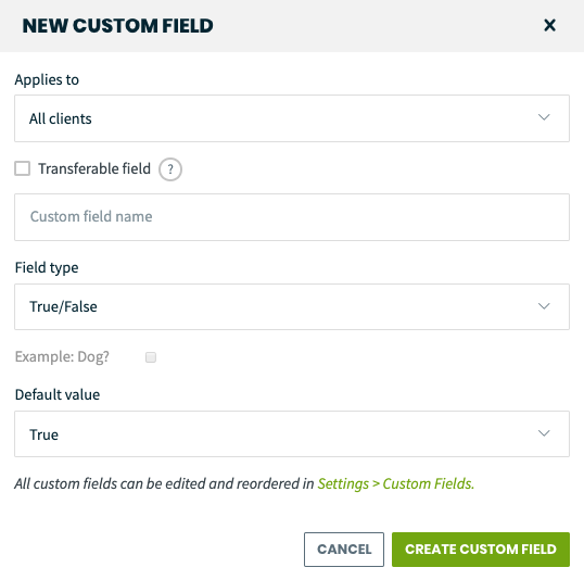 New custom field pop-up