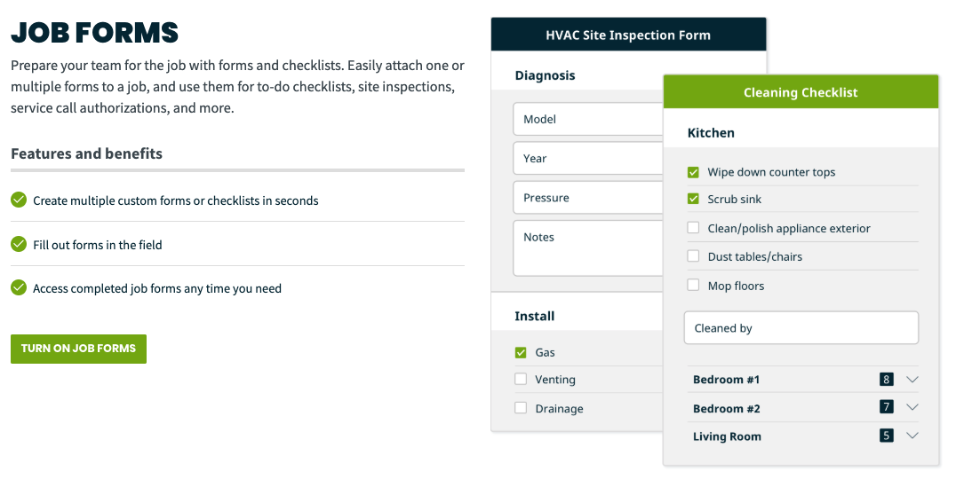 Settings page where job forms can be turned on