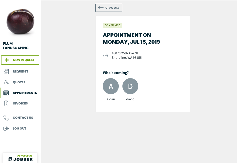appointment showing the team members assigned