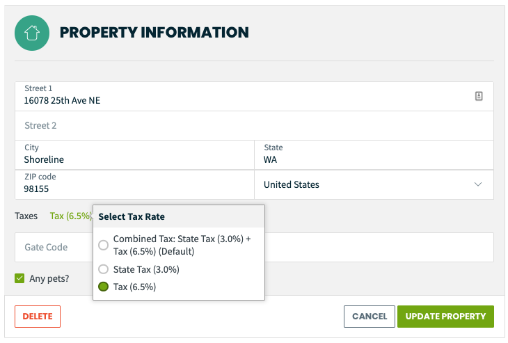 property information where you can select a tax rate for the property