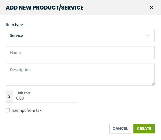 add new product/service screen