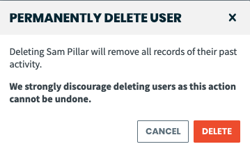 Permanently delete user confirmation