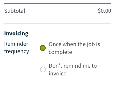 setting the reminder frequency for invoices