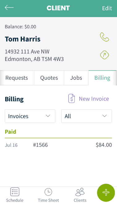 billing tab from the client's profile