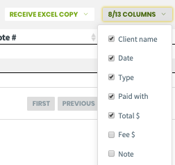 options that can be checked off to display more columns in the report