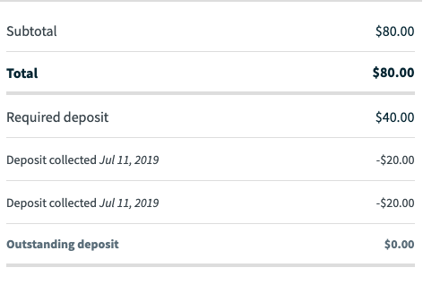 what multiple deposits look like on a quote.