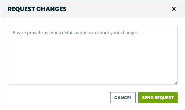 request changes pop-up with a textbox for the client to fill out