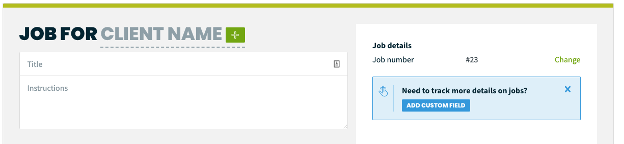 Top of the job creation screen. Here you can chose a client, job title and instructions, and edit the job number.