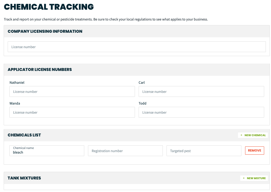 chemical tracking settings