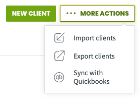 More actions menu with an option to export clients