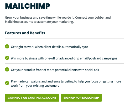 Mailchimp settings in Jobber. There are buttons to connect an existing Mailchimp account and to create a new account