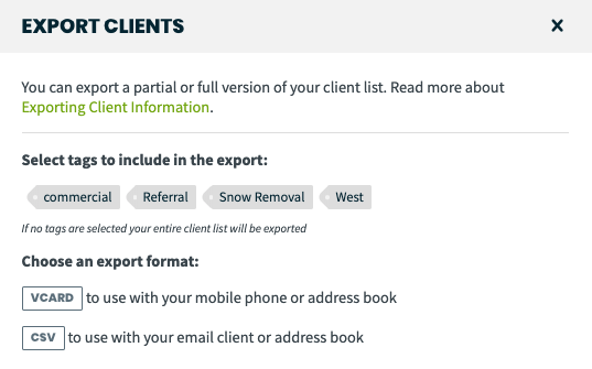 export clients options