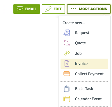 More actions menu with invoice highlighted