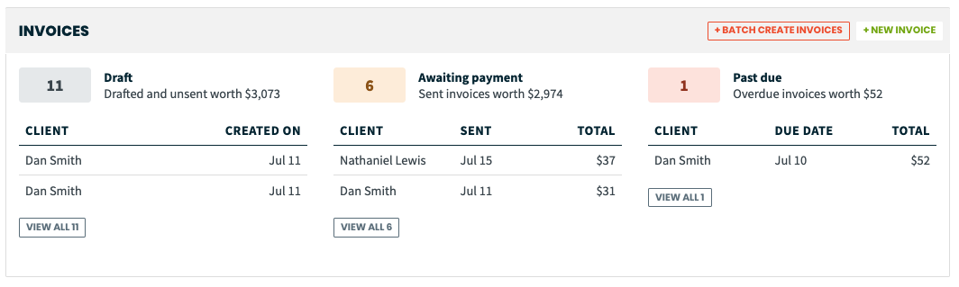 invoices section of the work overview page