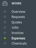 side navigation with expenses highlighted