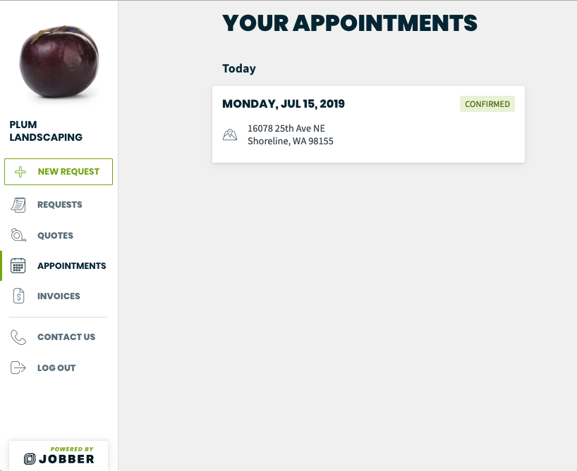 list of appointments in the client hub
