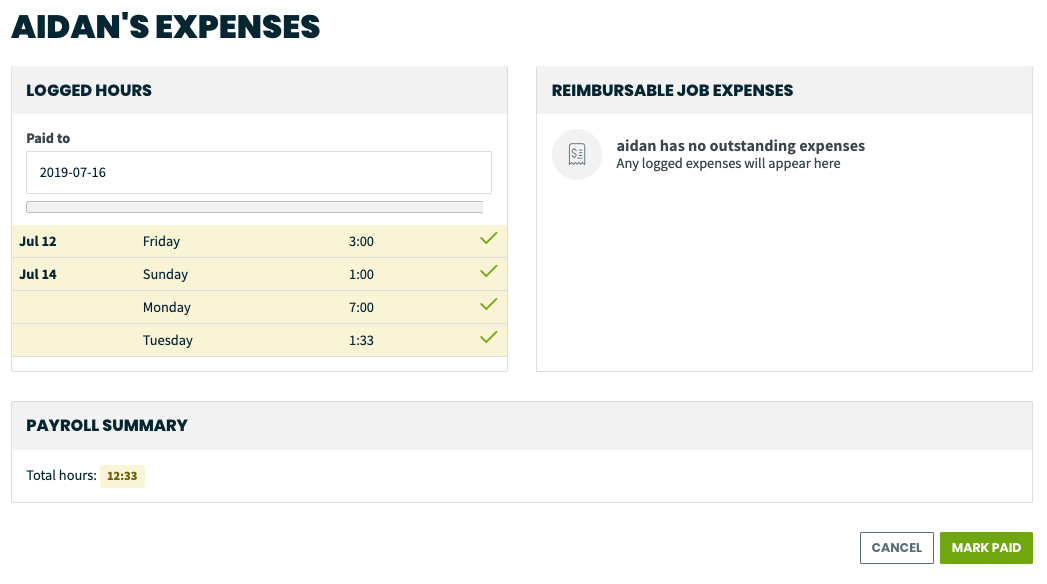 employee's expenses page, shows employees logged hours, reimbursable job expenses, and payroll summary